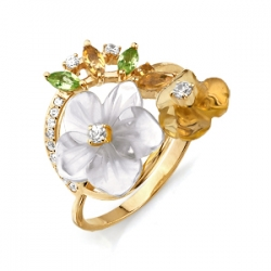 Золотое кольцо с хризолитами, цитринами, перламутром и фианитами