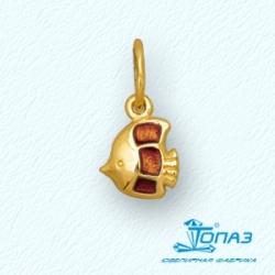 Детская подвеска Рыбка из желтого золота с эмалью