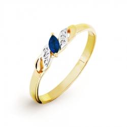 Кольцо из желтого золота с сапфиром, бриллиантами