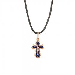 Мужской золотой крестик с эмалью