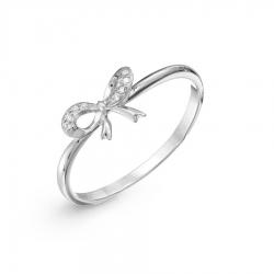 Кольцо Бантик из белого золота с бриллиантами
