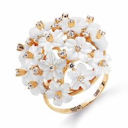 Золотое кольцо Цветы с перламутрами, фианитами