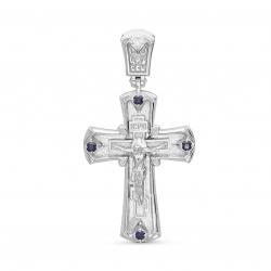 Крестик из белого золота c сапфиром и бриллиантом