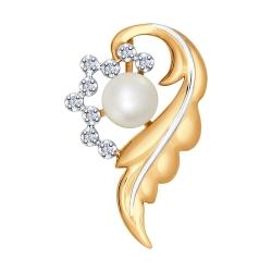 Золотая подвеска Перо c белым жемчугом и бриллиантом