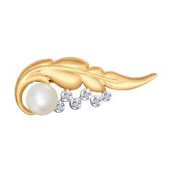 Золотая брошка Лист c белым жемчугом и бриллиантом