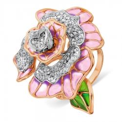Золотое кольцо с бриллиантами и эмалью