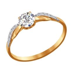 Золотое кольцо со сваровски SOKOLOV