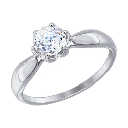 Помолвочное кольцо из белого золота (Swarovski Zirconia) SOKOLOV