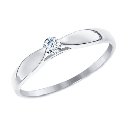 Помолвочное кольцо из белого золота со swarovski zirconia SOKOLOV
