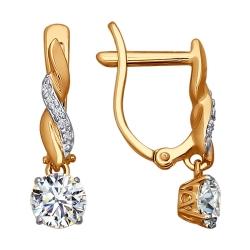 Серьги из золота с кристаллами сваровски SOKOLOV