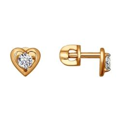 Золотые серьги гвоздики Сердце со Сваровски SOKOLOV