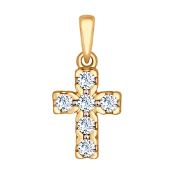 Золотой крест (Swarovski Zirconia) SOKOLOV