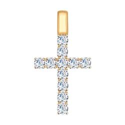 Золотой крестик (Swarovski Zirconia) SOKOLOV