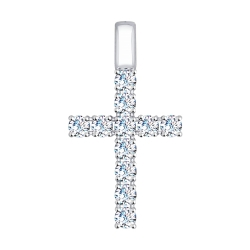 Крестик из белого золота (Swarovski Zirconia) SOKOLOV