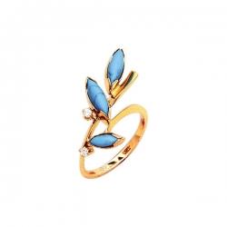 Кольцо из золота 585 пробы с бирюзой и бриллиантами