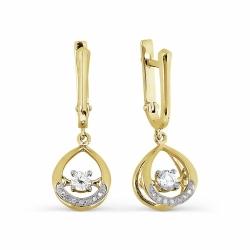 Серьги из желтого золота с танцующими бриллиантами