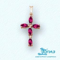 Золотой крестик с рубином
