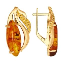 Серьги из золочёного серебра с жёлтыми фианитами и янтарём