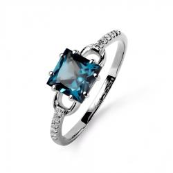 Кольцо из белого золота с топазом, бриллиантами