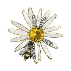 Брошь из жёлтого золота 585 пробы с бриллиантами, перламутром, цитрином