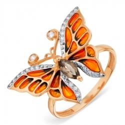 Золотое кольцо с эмалью и раухтопазом, фианитами