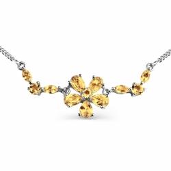 Колье Цветок из белого золота с цитринами