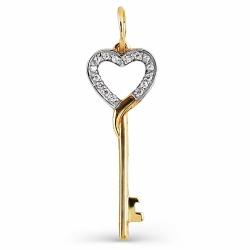 Подвеска Ключ из желтого золота с фианитами