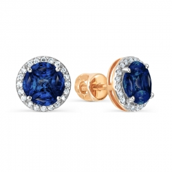 Золотые серьги-гвоздики с сапфиром и бриллиантом