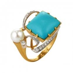 Кольцо из золота 585 пробы с бирюзой, бриллиантами, жемчугом