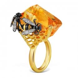 Кольцо из жёлтого золота 585 пробы с бриллиантами и цитрином