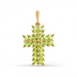 Золотой крестик с хризолитом