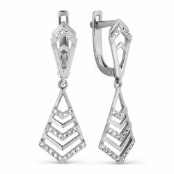 Серьги Геометрия из белого золота с бриллиантами