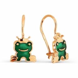 Детские золотые серьги Лягушки с эмалью