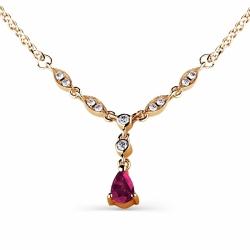 Золотое колье с рубином и бриллиантом