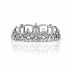 Кольцо Корона из белого золота с фианитами