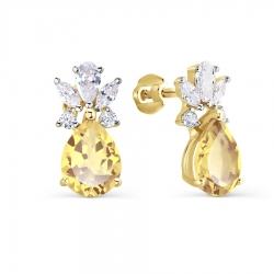 Серьги-гвоздики из желтого золота с цитрином и фианитами