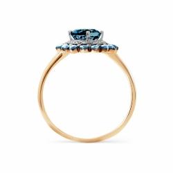 Золотое кольцо Цветок с топазом, фианитами, фианитами