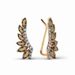 Золотые серьги с раухтопазом и фианитами