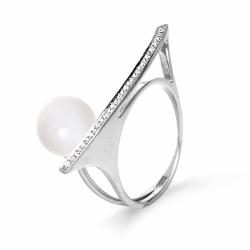 Кольцо Геометрия из белого золота с белым жемчугом, бриллиантами