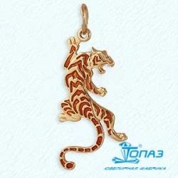 Золотая подвеска Тигр с эмалью