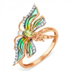 Золотое кольцо с эмалью и хризолитом, фианитами