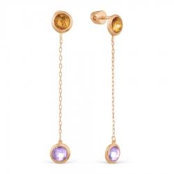 Золотые серьги-гвоздики с аметистом, цитрином