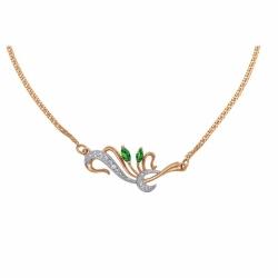 Золотое колье Флора с изумрудом, бриллиантами