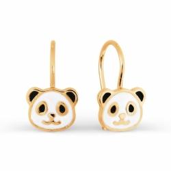 Золотые серьги Панда с эмалью
