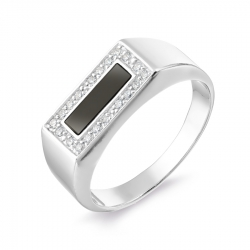 Мужское кольцо из белого золота с фианитами