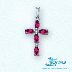 Крестик из белого золота с рубином