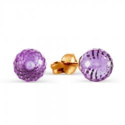 Золотые серьги-гвоздики с аметистом