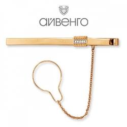 Золотой зажим для галстука с фианитами