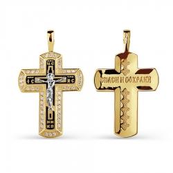 Мужской золотой крестик с эмалью и фианитами