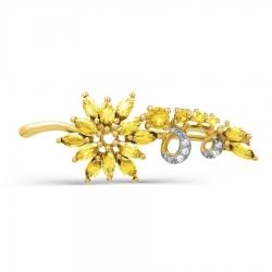 Брошь Цветок из желтого золота с цитринами, фианитами